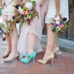Hand Tied Bouquets in Jewel Tones and Bright Turquoise Wedding Shoes! | Nicole Marie Photography | See More! https://heyweddinglady.com/boho-brewery-wedding-inspiration-in-rich-jewel-tones/
