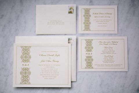 Chic White and Gold Invitations for a Classic Glam Wedding   Blaine Siesser Photography   See More! http://heyweddinglady.com/classic-glam-wedding-in-crystal-white-and-blush/