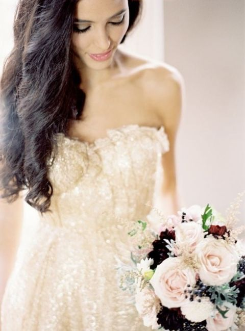 Glittering Gold Sarah Seven Wedding Dress