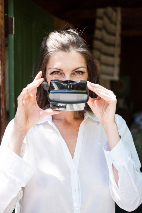 Adorable Getting Ready Shot of the Bride with a Custom Made Viewfinder! | Dawn Heumann Photography | See More! https://heyweddinglady.com/romantic-bespoke-wedding-handmade-by-friends/