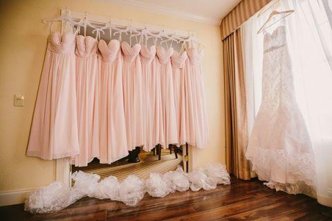 Floor Length Blush Pink Bridesmaids Dress for a Sweetly Opulent Black Tie Texas Wedding | PhotoHouse Films | See More! http://heyweddinglady.com/sweetly-opulent-black-tie-texas-wedding/