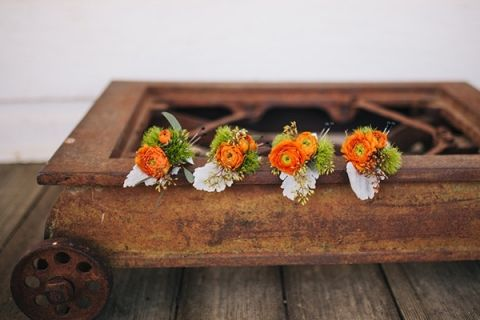 Bright Orange Rustic Boutonnieres for an Autumn Harvest Wedding | Lisa Mallory Photography | See More! https://heyweddinglady.com/autumn-harvest-wedding-at-santa-margarita-ranch/