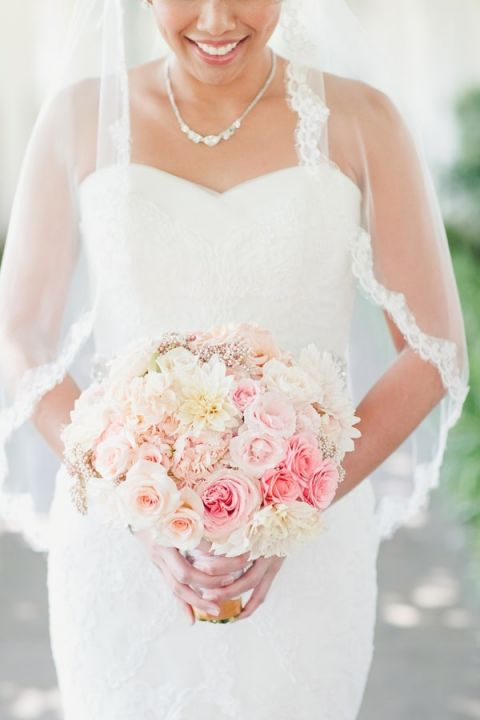 Delicate Ombre Bridal Bouquet from Blush to Pink | Onelove Photography | See More! https://heyweddinglady.com/pink-mint-and-gold-wedding-with-lots-of-sparkle/
