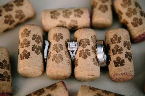 Square Cut Diamond Engagement Ring and Wedding Bands with Corks for a Winery Wedding | heidi-o-photo | See More! https://heyweddinglady.com/rustic-winery-wedding-in-southern-california/