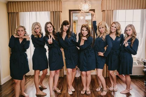 Bride and Bridesmaids Getting Ready in Navy Blue Monogrammed Robes! | PhotoHouse Films | See More! http://heyweddinglady.com/sweetly-opulent-black-tie-texas-wedding/