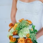 Strapless Sweetheart Wedding Dress and a Vibrant Orange Bouquet | Lisa Mallory Photography | See More! https://heyweddinglady.com/autumn-harvest-wedding-at-santa-margarita-ranch/