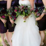 The Bride and Bridesmaids Carried Hand Tied Bouquets in Deep Purple and Burgundy | heidi-o-photo | See More! https://heyweddinglady.com/rustic-winery-wedding-in-southern-california/