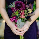 Hand Tied Bouquets in Deep Purple and Burgundy with Eggplant Bridesmaid Dresses | heidi-o-photo | See More! https://heyweddinglady.com/rustic-winery-wedding-in-southern-california/