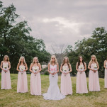 Sweetly Opulent Wedding with Bridesmaids in Floor Length Blush Gowns and a Romantic Lace Wedding Dress | PhotoHouse Films | See More! https://heyweddinglady.com/sweetly-opulent-black-tie-texas-wedding/