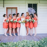 Romantic Ranch Wedding with Bridesmaids in Sweet Orange Cocktail Dresses | Lisa Mallory Photography | See More! https://heyweddinglady.com/autumn-harvest-wedding-at-santa-margarita-ranch/