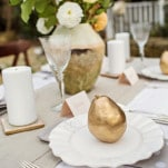 Romantic Natural French County Styled Table with Gold Accents | Amy Allen Photography | See More! https://heyweddinglady.com/french-country-chic-wedding-style/