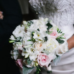 Glittering Wedding Dress with a Classic White and Blush Bouquet | Blaine Siesser Photography | See More! https://heyweddinglady.com/classic-glam-wedding-in-crystal-white-and-blush/