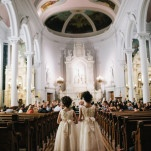 Classic Cathedral Wedding Ceremony with Adorable Flower Girls | Blaine Siesser Photography | See More! https://heyweddinglady.com/classic-glam-wedding-in-crystal-white-and-blush/