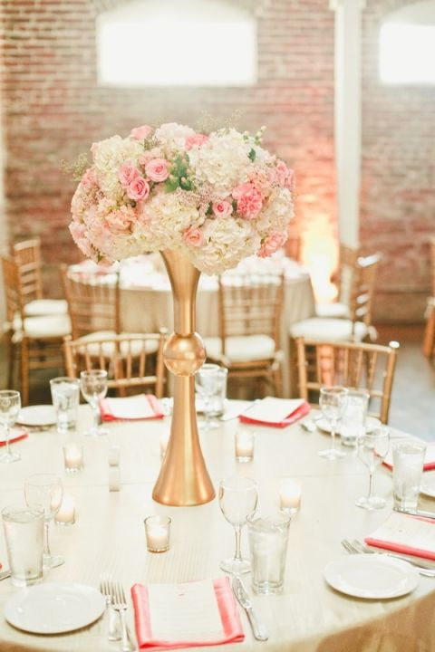 modern pink and white centerpieces in tall gold vessels onelove photography see more