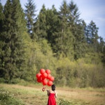 Country Wedding Portraits with a Bridesmaid in Red with Balloons | Maru Photography | See More! http://heyweddinglady.com/glamorous-red-and-blush-wedding-from-maru-photography/