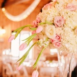 Lush and Luxe Blush and Ivory Tall Wedding Centerpieces | PhotoHouse Films | See More! https://heyweddinglady.com/sweetly-opulent-black-tie-texas-wedding/