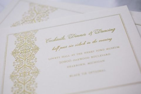 Embossed Gold Wedding Invitations   Blaine Siesser Photography   See More! http://heyweddinglady.com/classic-glam-wedding-in-crystal-white-and-blush/