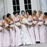 Bridesmaids in Floor Length Blush Gowns | Blaine Siesser Photography | See More! https://heyweddinglady.com/classic-glam-wedding-in-crystal-white-and-blush/