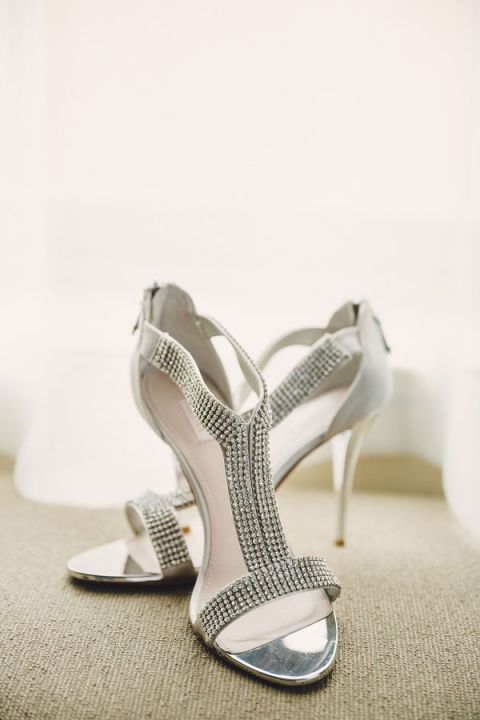 Modern Chic Silver Wedding Shoes with Crystals | Oldani Photography | See More! https://heyweddinglady.com/modern-chic-blue-white-and-silver-wedding