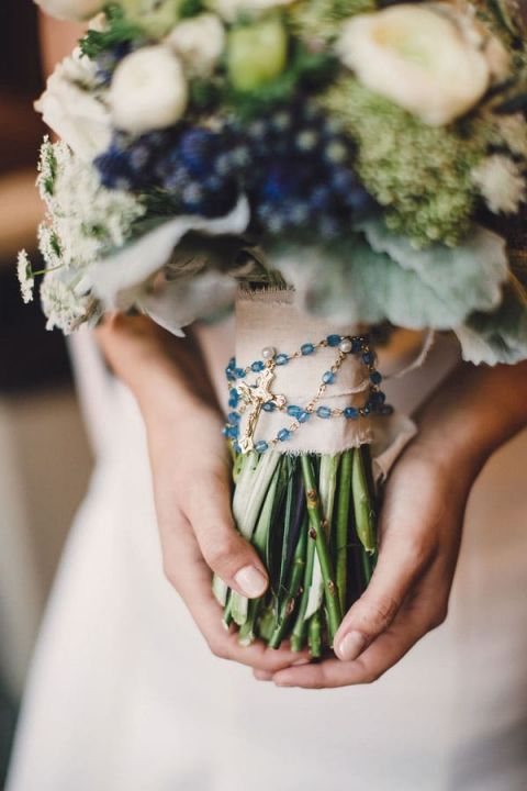 Blue and White Modern Chic Bouquet with the Bride's Rosary | Oldani Photography | See More! http://heyweddinglady.com/modern-chic-blue-white-and-silver-wedding