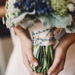 Blue and White Modern Chic Bouquet with the Bride's Rosary | Oldani Photography | See More! https://heyweddinglady.com/modern-chic-blue-white-and-silver-wedding