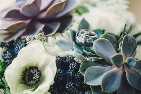 Blue and White Wedding Flowers and a Modern Chic Square Cut Engagement Ring | Oldani Photography | See More! https://heyweddinglady.com/modern-chic-blue-white-and-silver-wedding