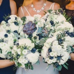 Blue and White Modern Wedding Bouquets | Oldani Photography | See More! https://heyweddinglady.com/modern-chic-blue-white-and-silver-wedding