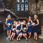 Bridesmaids in Mismatched Cobalt and Navy Blue Cocktail Dresses | Oldani Photography | See More! https://heyweddinglady.com/modern-chic-blue-white-and-silver-wedding