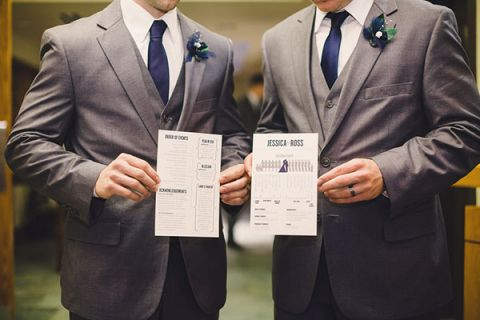 The Groomsmen in Gray with Navy Accessories Helpfully Model the Wedding Invitation Suite | Oldani Photography | See More! http://heyweddinglady.com/modern-chic-blue-white-and-silver-wedding