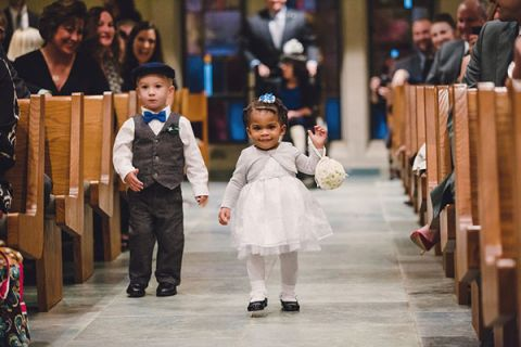 Adorable Toddler Flower Girl and Ring Bearer Heading Down the Aisle | Oldani Photography | See More! http://heyweddinglady.com/modern-chic-blue-white-and-silver-wedding