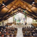 A Wedding Ceremony in the Catholic Student Center and Washington University   Oldani Photography   See More! https://heyweddinglady.com/modern-chic-blue-white-and-silver-wedding