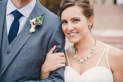 Stunning Modern Bride with a Statement Necklace | Oldani Photography | See More! http://heyweddinglady.com/modern-chic-blue-white-and-silver-wedding