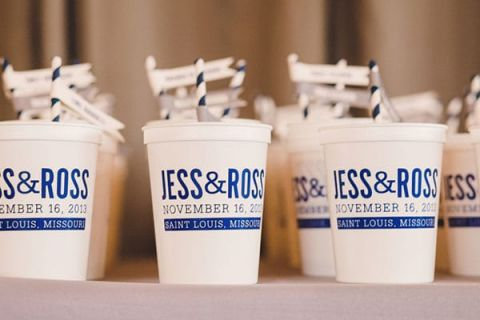 Personalized Cups with their Names and Wedding Date Doubled as Escort Cards and Favors | Oldani Photography | See More! http://heyweddinglady.com/modern-chic-blue-white-and-silver-wedding/