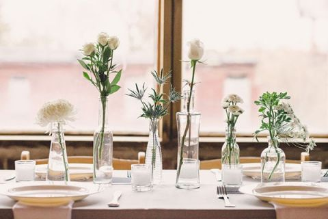 Modern Single Flower White Centerpieces | Oldani Photography | See More! http://heyweddinglady.com/modern-chic-blue-white-and-silver-wedding