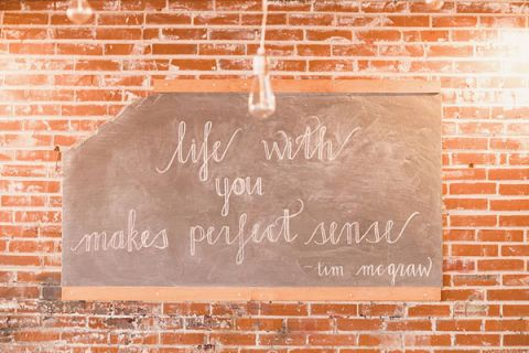 Life With You Makes Perfect Sense - Tim McGraw Chalkboard Wedding Sign | Oldani Photography | See More! http://heyweddinglady.com/modern-chic-blue-white-and-silver-wedding