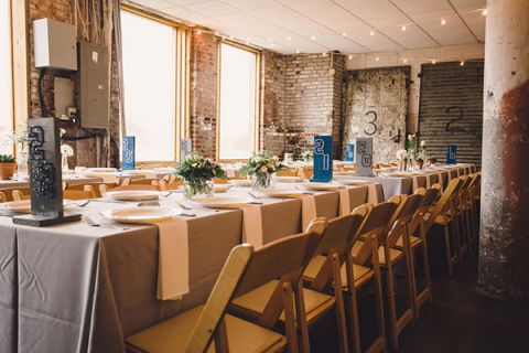 Modern Chic Industrial Wedding Reception in Blue, White, and SIlver | Oldani Photography | See More! http://heyweddinglady.com/modern-chic-blue-white-and-silver-wedding