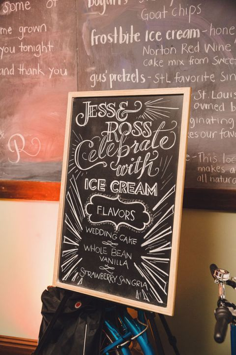 A Wedding Ice Cream Buffet with a Custom Chalkboard Sign | Oldani Photography | See More! http://heyweddinglady.com/modern-chic-blue-white-and-silver-wedding