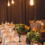 Edison Light Bulbs, Succulent Centerpieces, and Cobalt Glassware for a Modern Chic Wedding Reception | Oldani Photography | See More! https://heyweddinglady.com/modern-chic-blue-white-and-silver-wedding