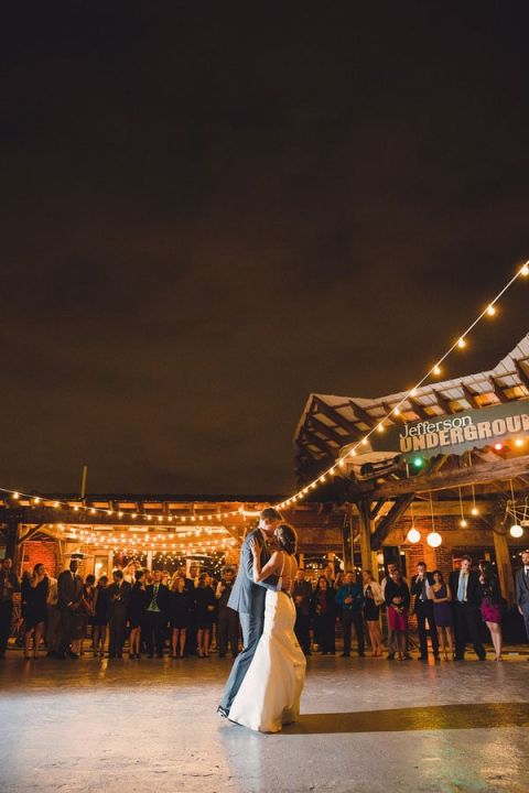 Bistro Lighting Surrounding the Courtyard for an Epic Wedding Dance Floor | Oldani Photography | See More! http://heyweddinglady.com/modern-chic-blue-white-and-silver-wedding