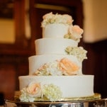 Peach and Ivory Classic Wedding Cake | Eye Wander Photography | See More! https://heyweddinglady.com/gold-and-champagne-wedding-in-new-orleans/