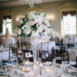 Elegant Wedding Reception in White and Blush with Crystal Details | Blaine Siesser Photography | See More! https://heyweddinglady.com/classic-glam-wedding-in-crystal-white-and-blush/