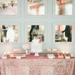 Sparkle and Shine Modern Dessert Display with Pink Sequin Linens | Onelove Photography | See More! https://heyweddinglady.com/pink-mint-and-gold-wedding-with-lots-of-sparkle/