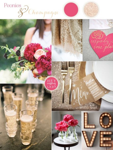 Peonies and Champagne Wedding Inspiration and the New Hey Wedding Lady! | See More! https://heyweddinglady.com/peonies-champagne-wedding-inspiration-new-hey-wedding-lady/