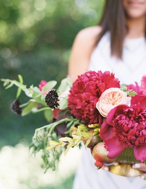 Lush Peony and Garden Rose Centerpiece in Fuchsia and Peach by Tinge Floral | D'arcy Benincosa Photography | See More! https://heyweddinglady.com/peonies-champagne-wedding-inspiration-new-hey-wedding-lady/
