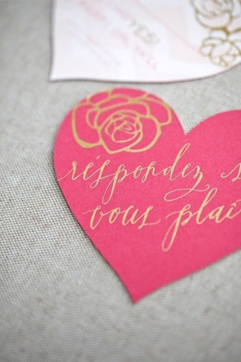 Pink Heart RSVP Card with Gold Calligraphy | Kristin Vanzant Photography | See More! https://heyweddinglady.com/peonies-champagne-wedding-inspiration-new-hey-wedding-lady/