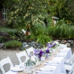 Bistro Lighting and Rustic Purple Centerpieces for a Southern California Hot Springs Wedding | Dawn Heumann Photography | See More! http://heyweddinglady.com/romantic-bespoke-wedding-handmade-by-friends/