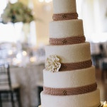 Classic Glam Wedding Cake with Strands of Blush Pearls | Blaine Siesser Photography | See More! https://heyweddinglady.com/classic-glam-wedding-in-crystal-white-and-blush/