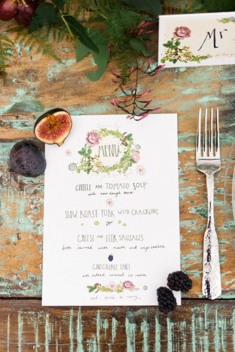 Floral Botanical Wedding Menu with Figs and Berries | Anushé Low Photography | See More! https://heyweddinglady.com/foodie-wedding-inspiration-with-botanical-details/