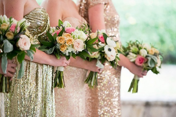 The ultimate guide to sparkling metallic dresses for your for Blush and gold wedding dress
