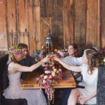 Dark Wood and Delicate Details for a Brewery Wedding Shoot with a Rich Jewel Toned Palette | Nicole Marie Photography | See More! http://heyweddinglady.com/boho-brewery-wedding-inspiration-in-rich-jewel-tones/
